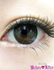 Nudy eye 1day(ヌーディーアイワンデー)ヌーディーショコラ)装着画像/メイクあり
