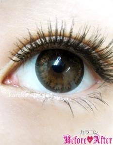 Nudy eye 1day(ヌーディーアイワンデー)ヌーディーショコラ)装着画像/下から