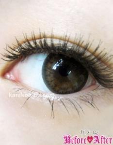 Nudy eye 1day(ヌーディーアイワンデー)ヌーディーショコラ)装着画像/横から