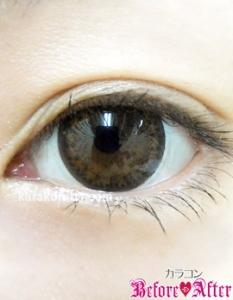 Nudy eye 1day(ヌーディーアイワンデー)ヌーディーショコラ)装着画像/ナチュラルメイク