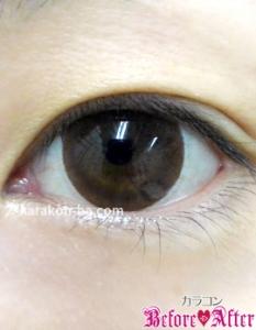 Nudy eye 1day(ヌーディーアイワンデー)ヌーディーモカ装着画像