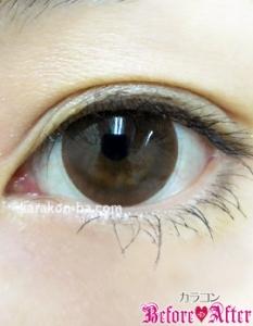 Nudy eye 1day(ヌーディーアイワンデー)ヌーディーモカ装着画像/ナチュラルメイク
