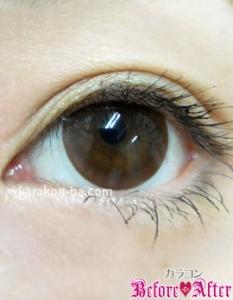 Nudy eye 1day(ヌーディーアイワンデー)ヌーディーモカ装着画像/ナチュラルメイク・横から
