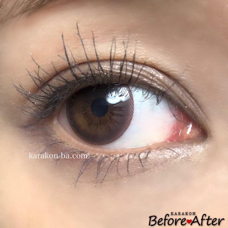Eye Coffret 1day UV(アイコフレワンデー)ベースメイクのカラコン装着画像(別の角度から)