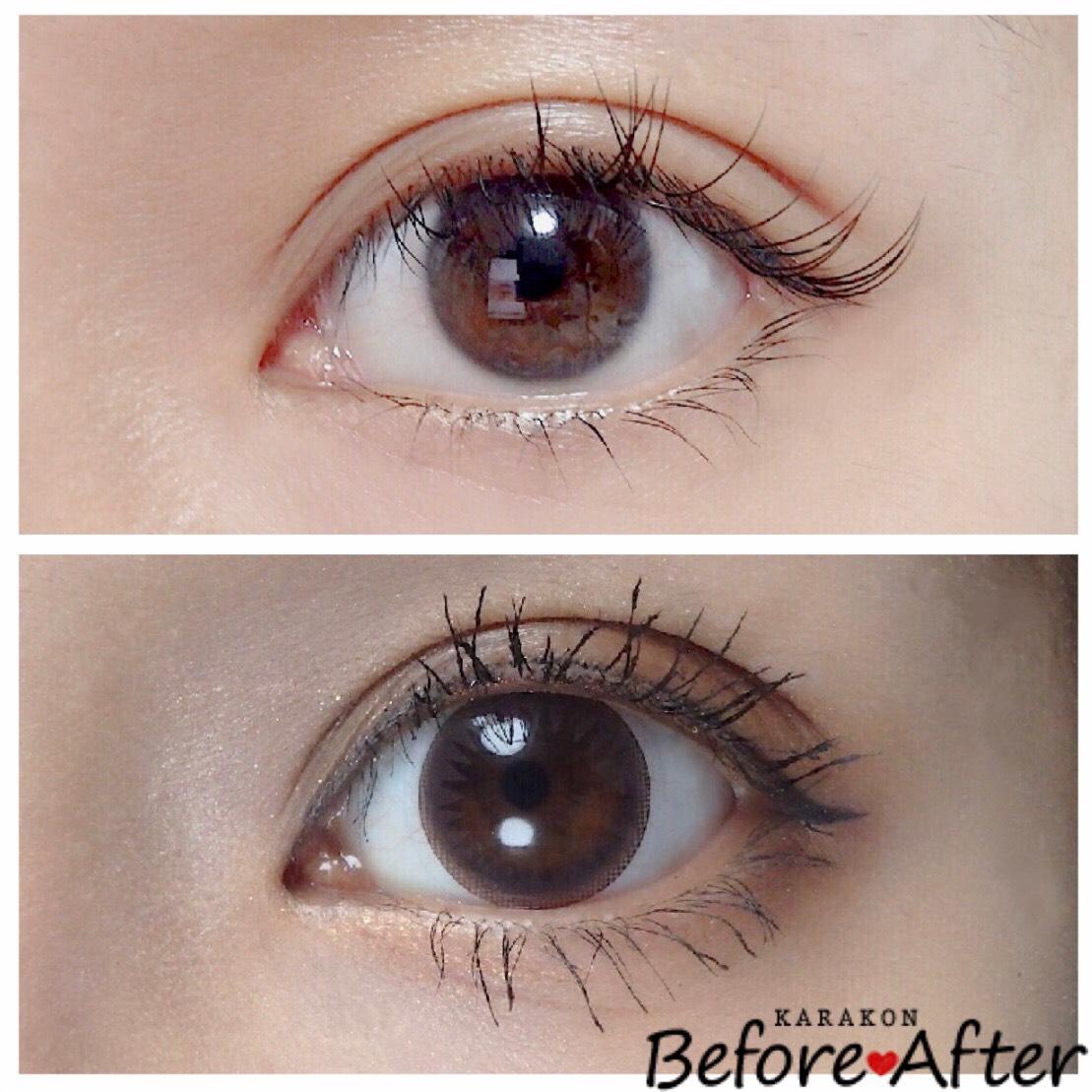 Eye Coffret 1day UV(アイコフレワンデー)ベースメイクのカラコン装着画像/裸眼と比較レポ