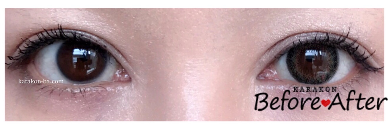 Neo Sight oneday Ciel UV(ネオサイトワンデーシエル)シエルグリーンのカラコン装着画像/両目で比較レポ