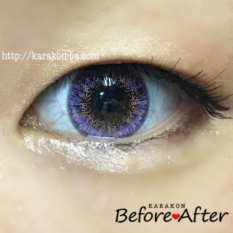 Flower Eyes(フラワーアイズ)フェリシアパープルのカラコン装着画像(正面から)