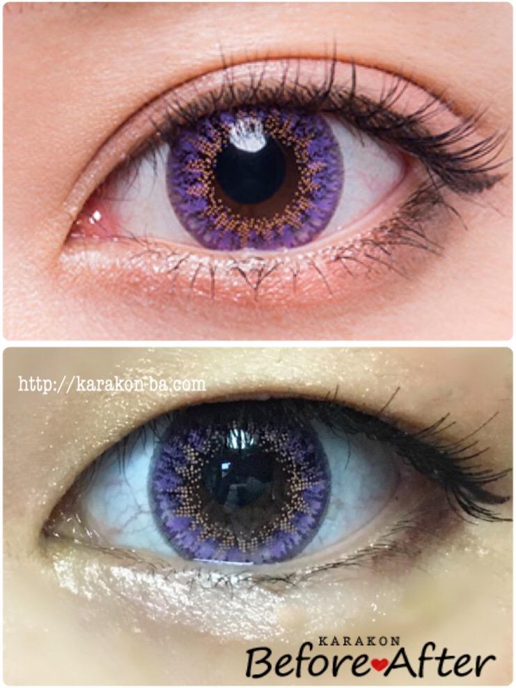 実際に使ってみたFlower Eyes(フラワーアイズ)フェリシアパープルと公式のカラコン装着画像を比較