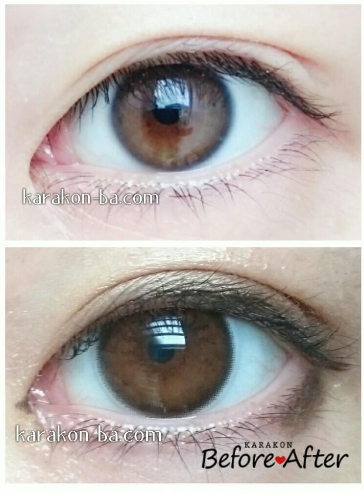 Angel Color(エンジェルカラー)ナチュラルヌードのカラコン装着画像/裸眼と比較レポ