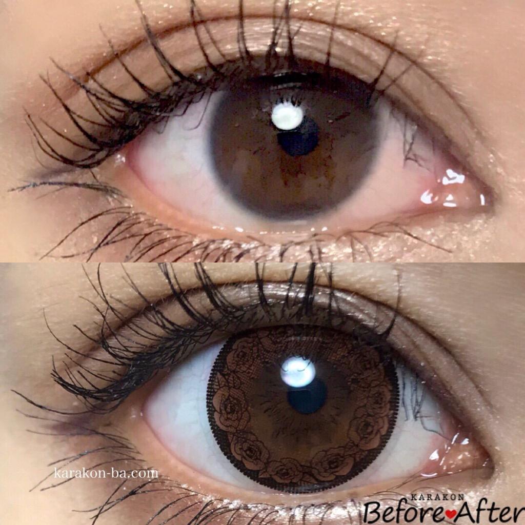 Calme Dor(キャレムドール)ブラウン+ブラックのカラコン装着画像/裸眼と比較レポ