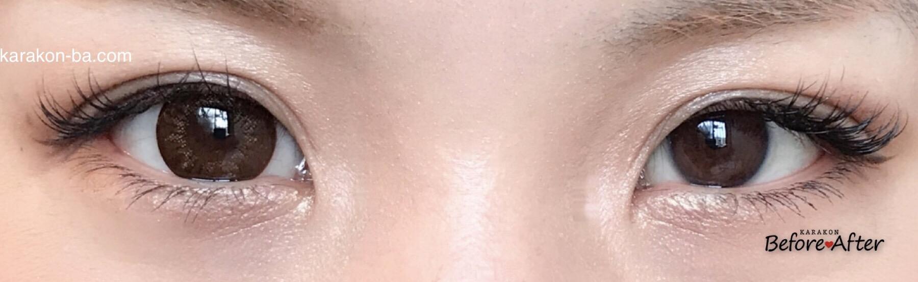 プリモブラウン装着画像/両目で比較