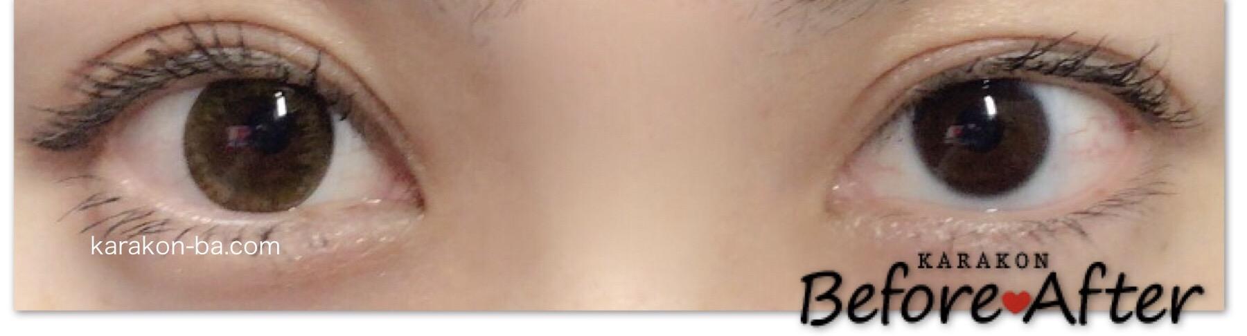 Minette(ミネット)レイヤーアーモンドのカラコン装着画像/両目で比較レポ