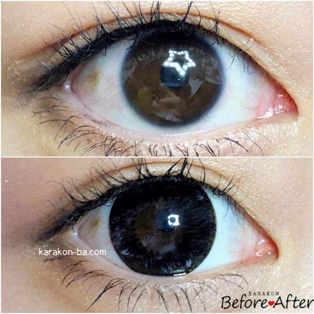 Contact Films(コンタクトフィルム)BKBK-BO ブラックサークルのカラコン装着画像/裸眼と比較レポ