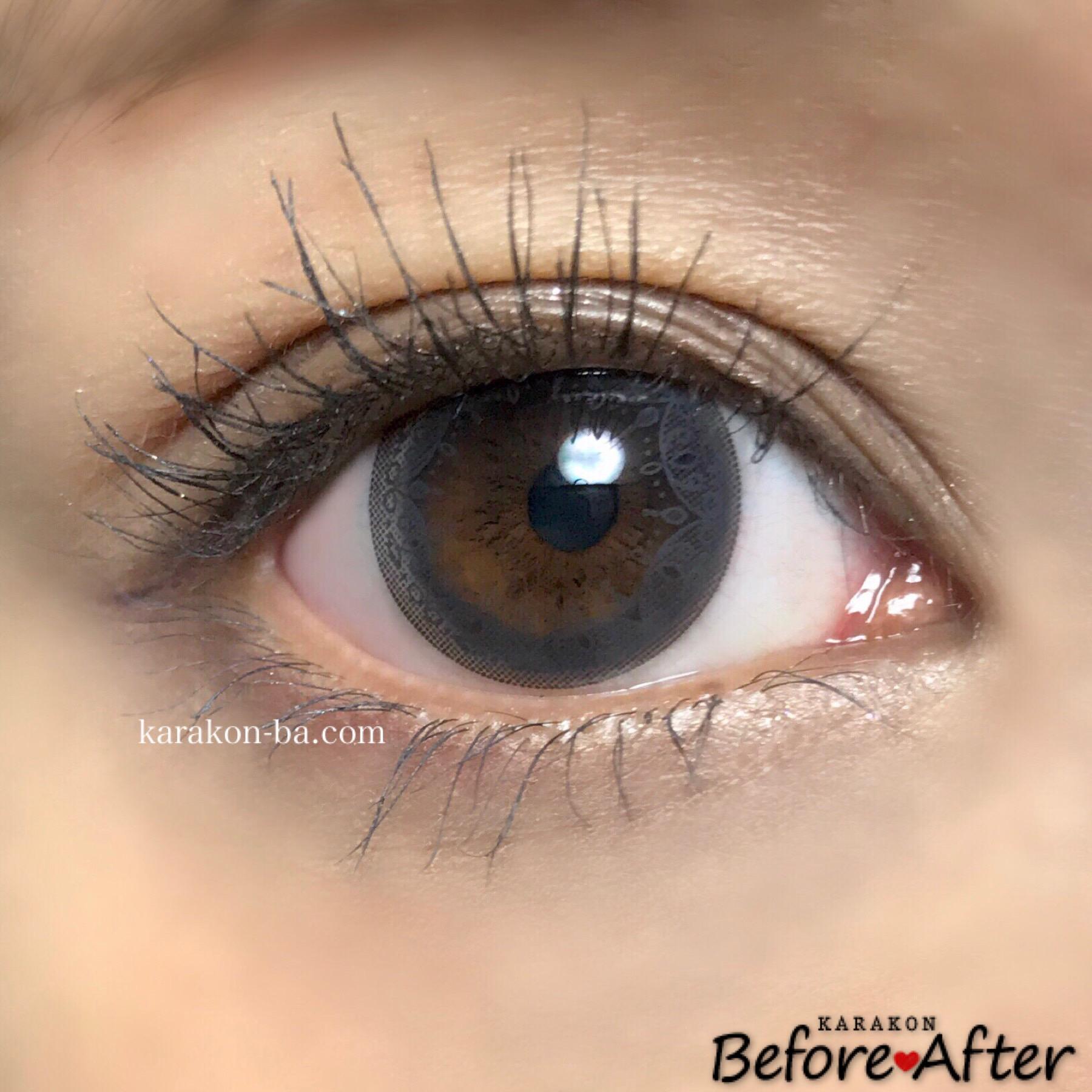 Eye Coffret 1day UV(アイコフレワンデー)グレイスメイクのカラコン装着画像(正面から)