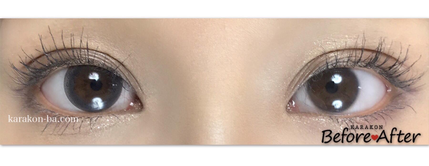 Eye Coffret 1day UV(アイコフレワンデー)グレイスメイクのカラコン装着画像/両目で比較レポ