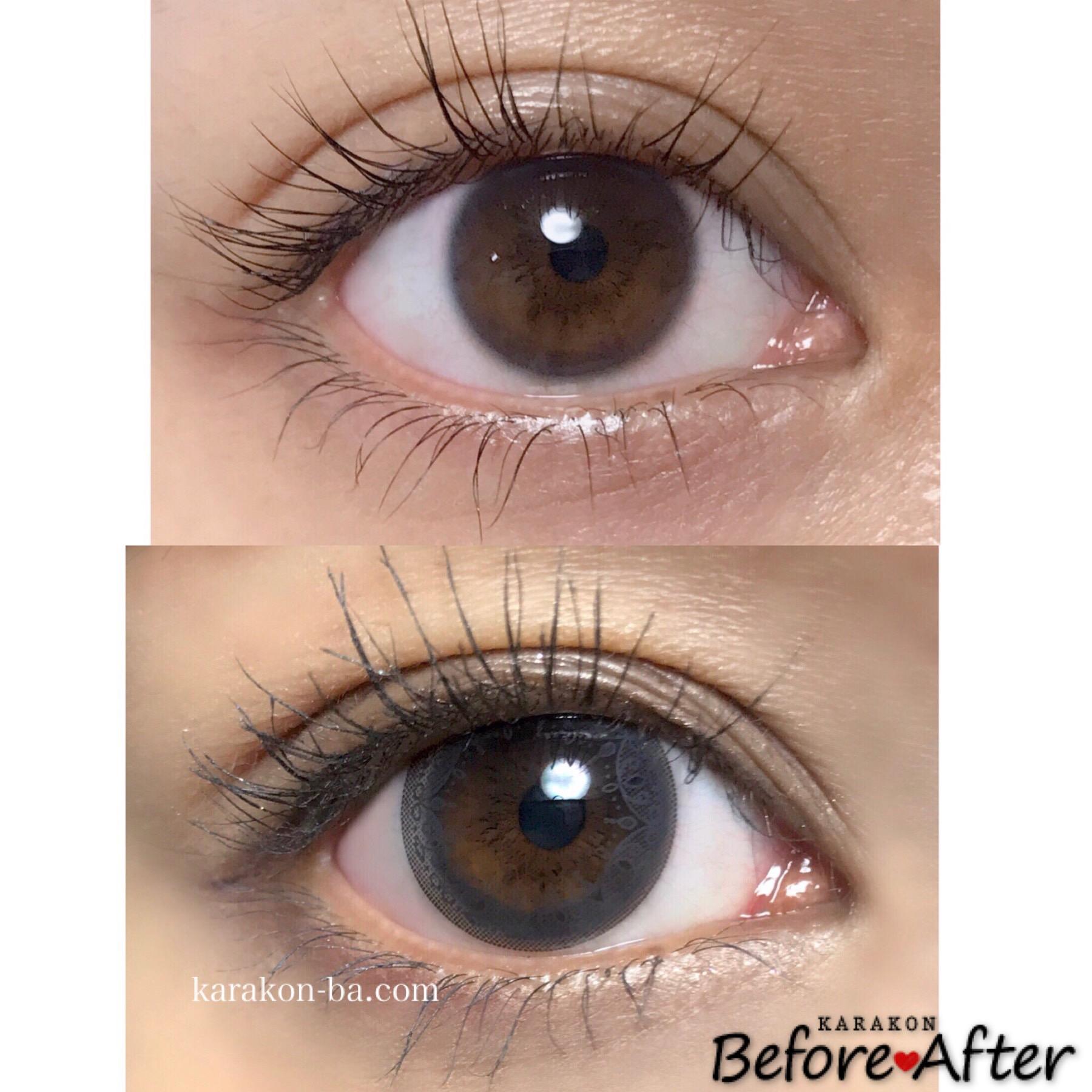 Eye Coffret 1day UV(アイコフレワンデー)グレイスメイクのカラコン装着画像/裸眼と比較レポ