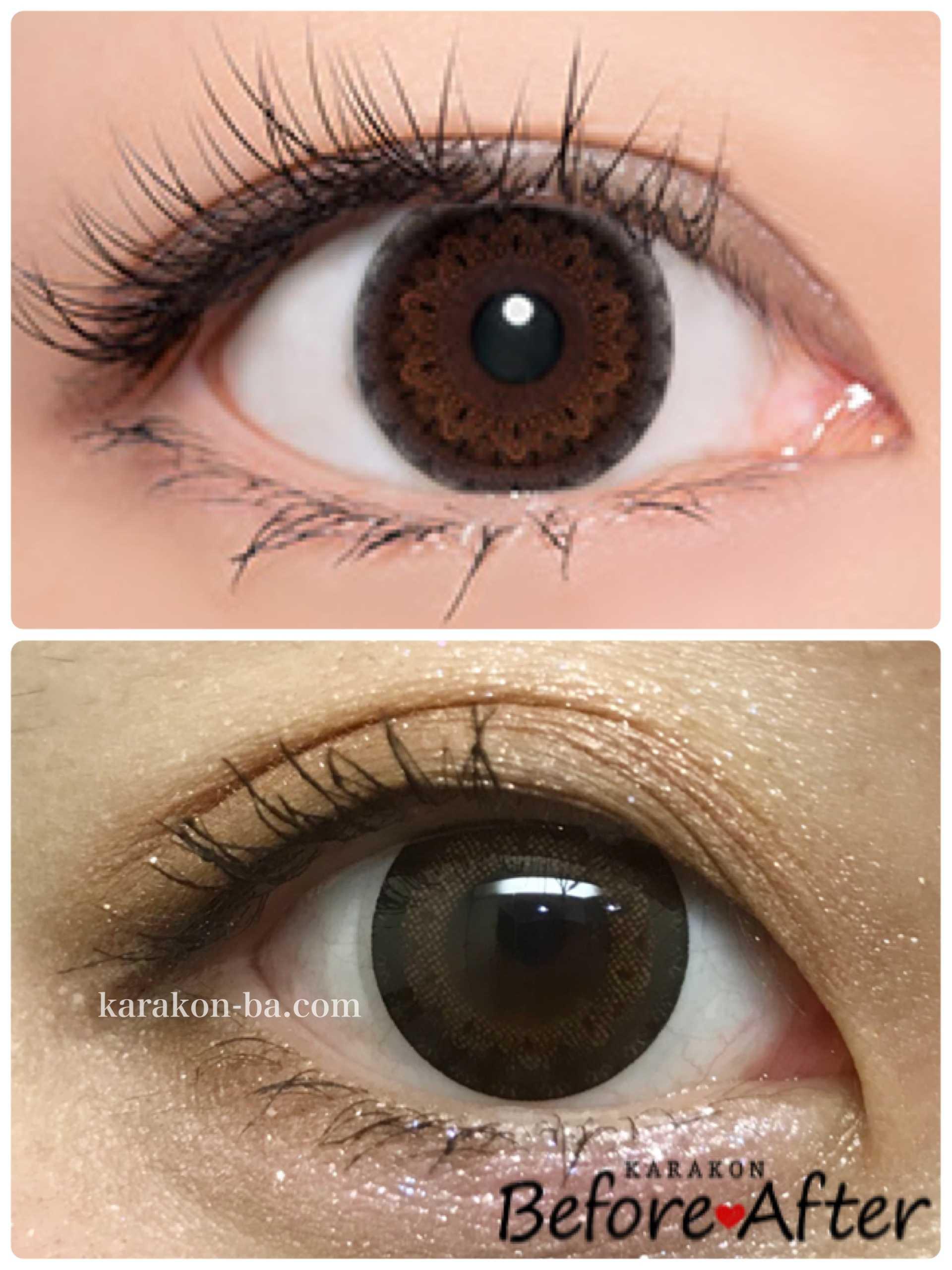 実際に使ってみたCalme Dor(キャレムドール)ブラウン+ブラックと公式のカラコン装着画像を比較