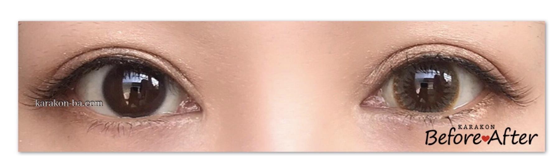 SUGAR FEEL(シュガーフィール)スウィーティーヘーゼルのカラコン装着画像/両目で比較レポ