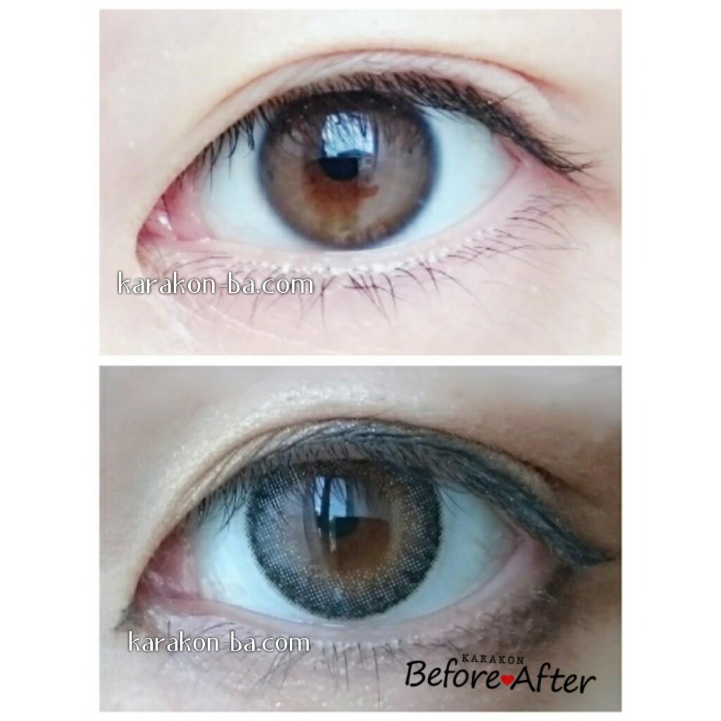 Select FAIRY(セレクトフェアリー)ミスティーグレーのカラコン装着画像/裸眼と比較レポ