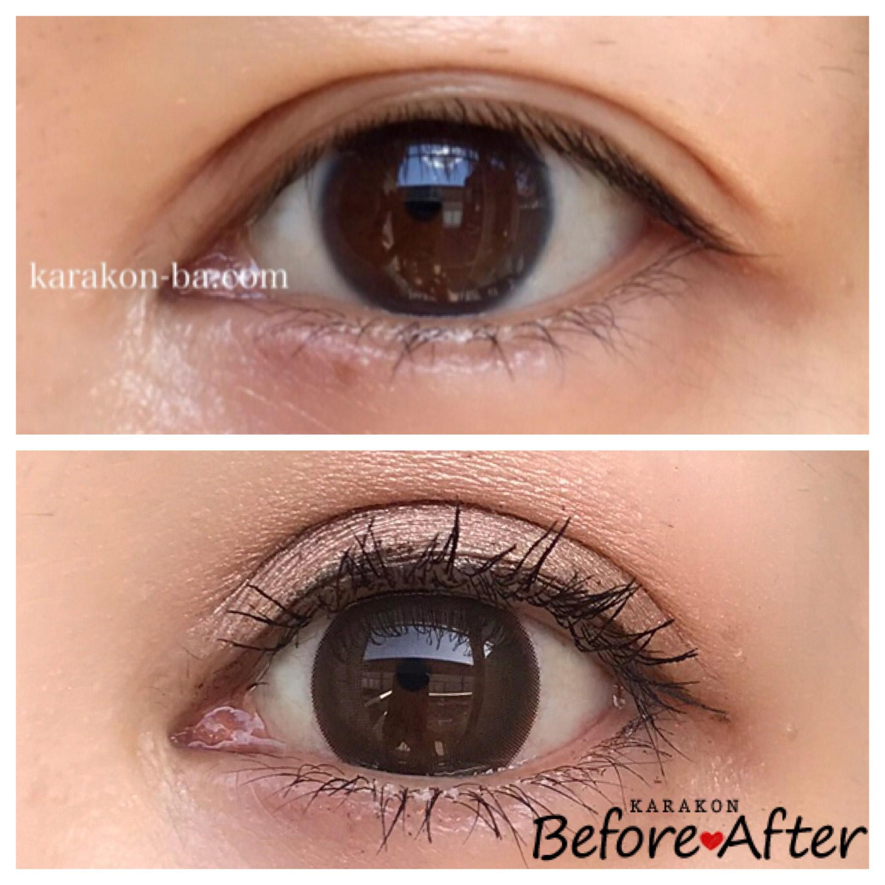 eye to eye(アイトゥーアイ)シナモンブラウンのカラコン装着画像/裸眼と比較レポ