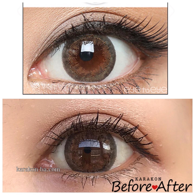実際に使ってみたeye to eye(アイトゥーアイ)ジャスミンブラウンと公式のカラコン装着画像を比較