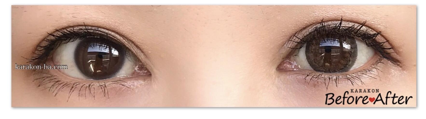 eye to eye(アイトゥーアイ)ジャスミンブラウンのカラコン装着画像/両目で比較レポ