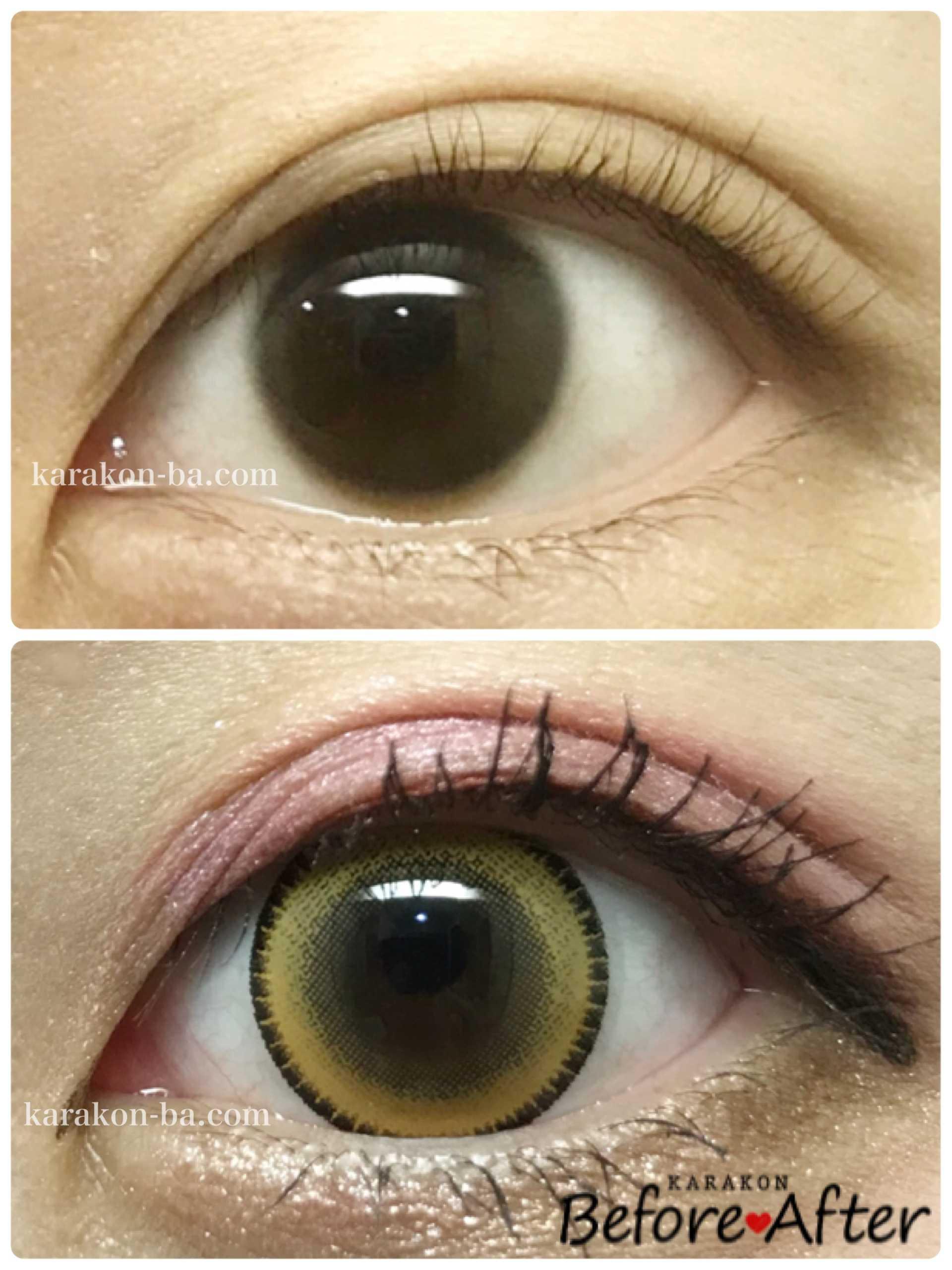 Assist ChouChou(アシスト シュシュ)パインキャンディーのカラコン装着画像/裸眼と比較レポ