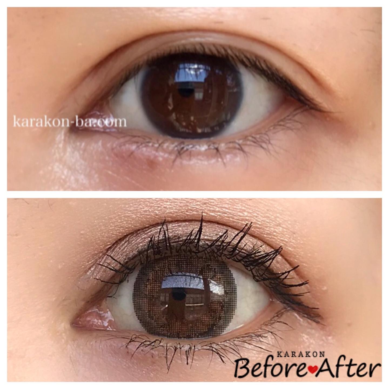 eye to eye(アイトゥーアイ)ジャスミンブラウンのカラコン装着画像/裸眼と比較レポ