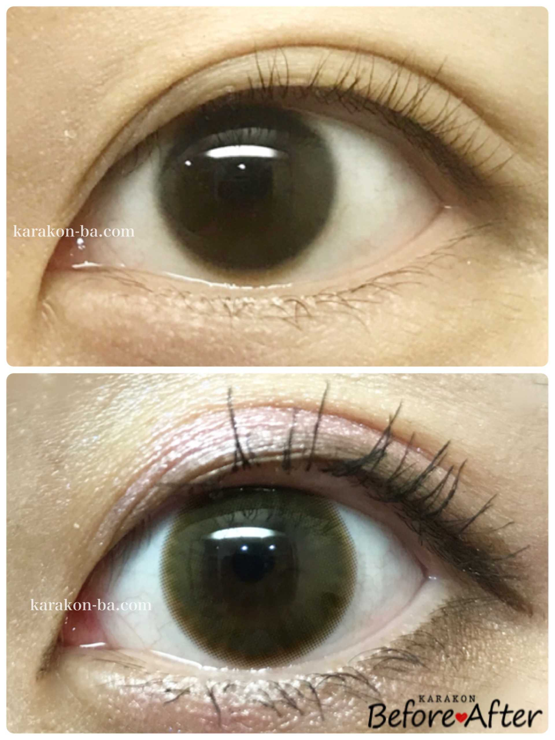colors(カラーズ)ナチュラルブラウンのカラコン装着画像/裸眼と比較レポ