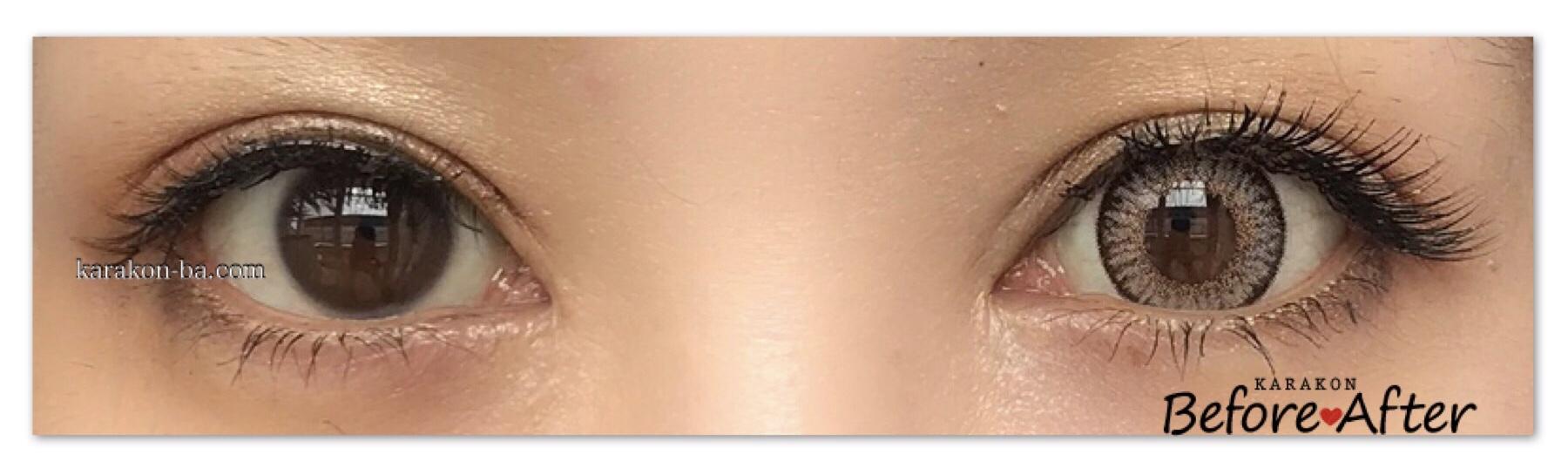 loveil(ラヴェール)キャラメルグローのカラコン装着画像/両目で比較レポ