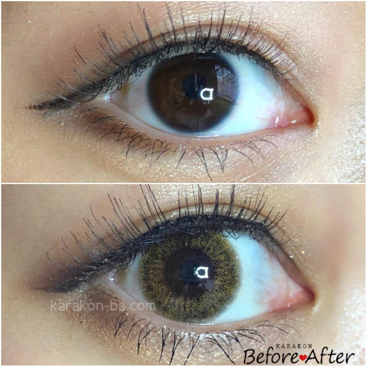 Ever Color 1day(エバーカラーワンデー)グロスアンバーのカラコン装着画像/裸眼と比較レポ