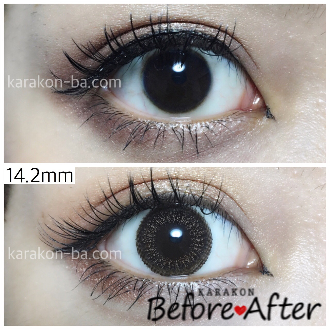 eyelist(アイリスト)ヌーディーのカラコン装着画像/裸眼と比較レポ