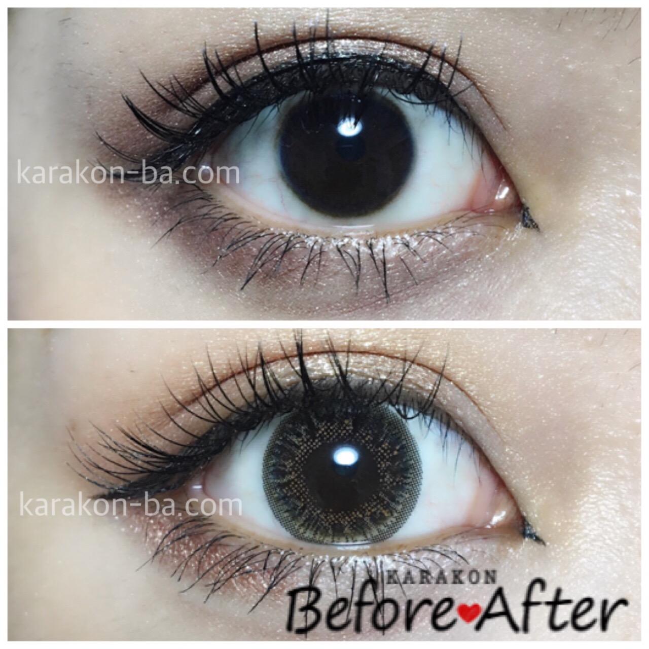 eyelist(アイリスト)シャインのカラコン装着画像/裸眼と比較レポ