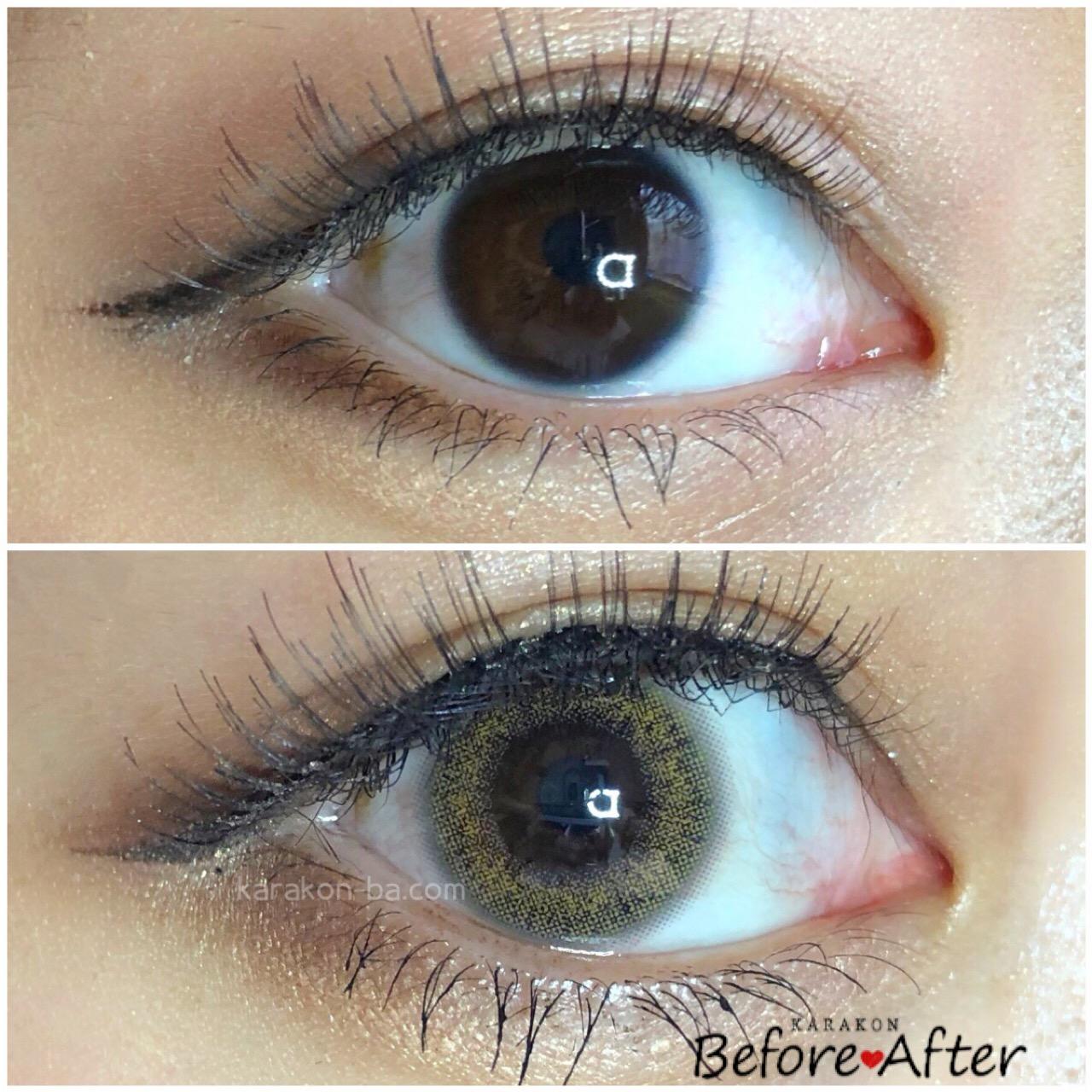 Ever Color 1day(エバーカラーワンデー)スキニーヘーゼルのカラコン装着画像/裸眼と比較レポ
