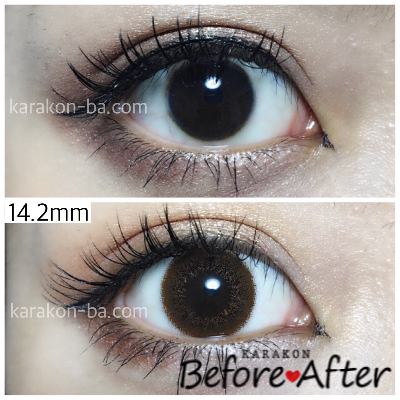 eyelist(アイリスト)チョコのカラコン装着画像/裸眼と比較レポ
