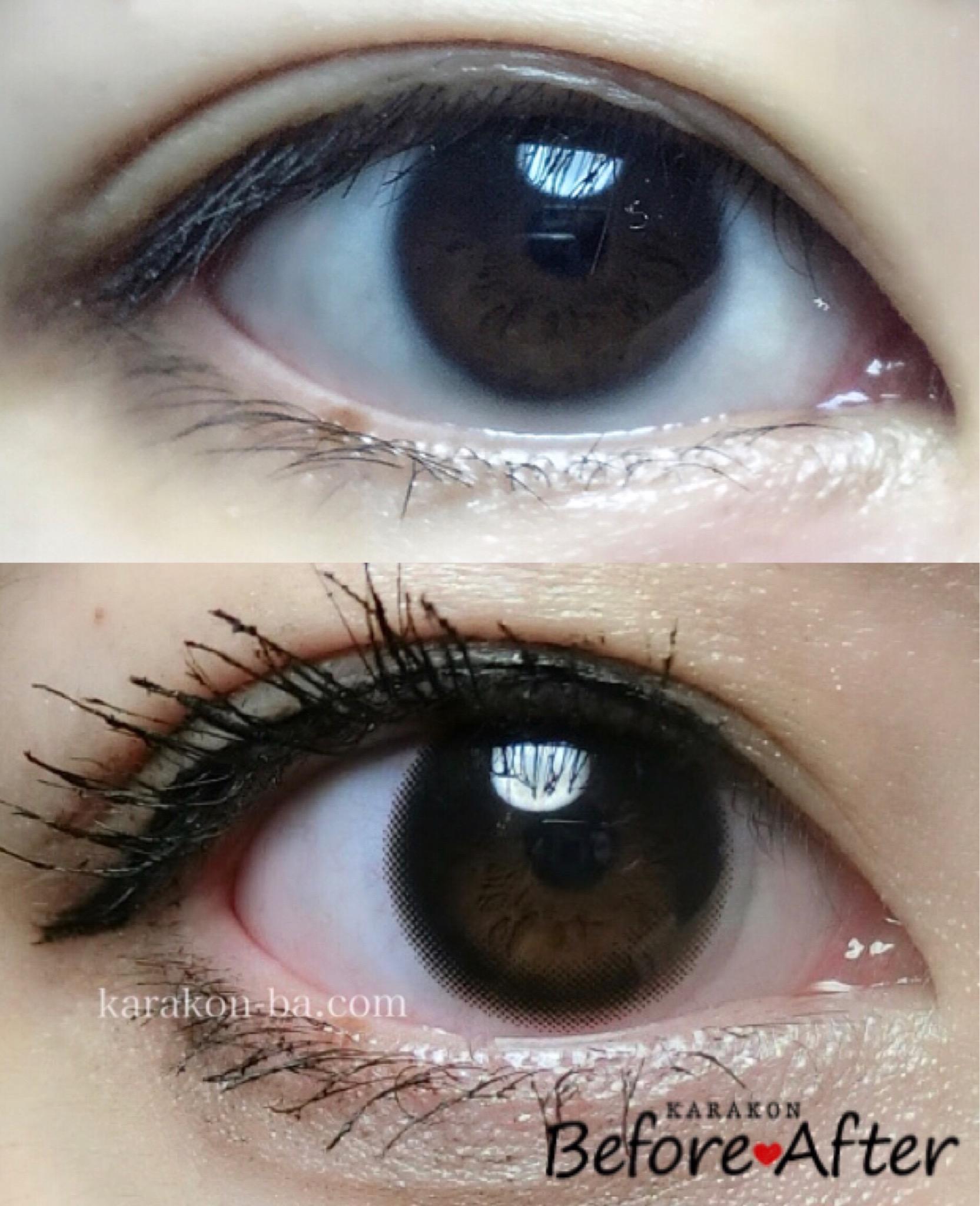 feliamo(フェリアモ)シアーブラックのカラコン装着画像/裸眼と比較レポ