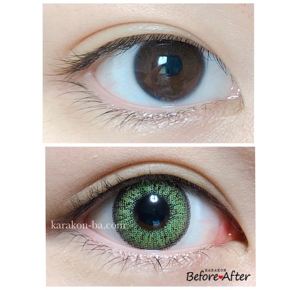 #CHOUCHOU(チュチュ)ウィキッドグリーンのカラコン装着画像/裸眼と比較レポ