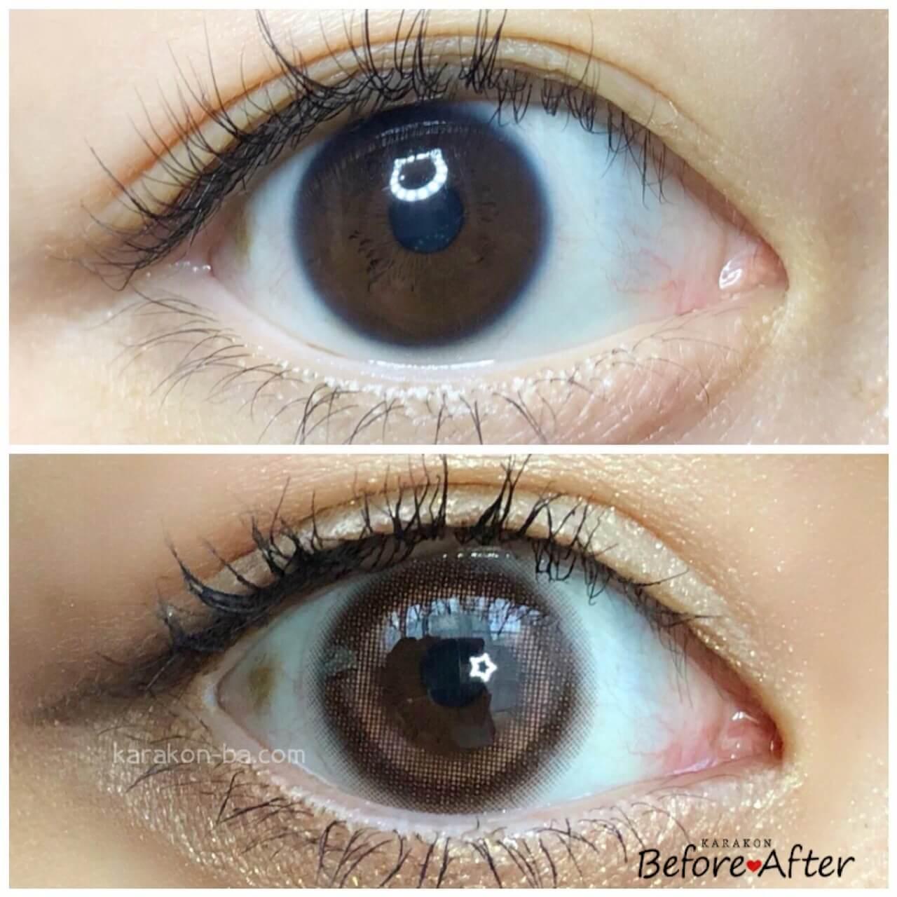 eyemake(アイメイク)シアーブラウンのカラコン装着画像/裸眼と比較レポ
