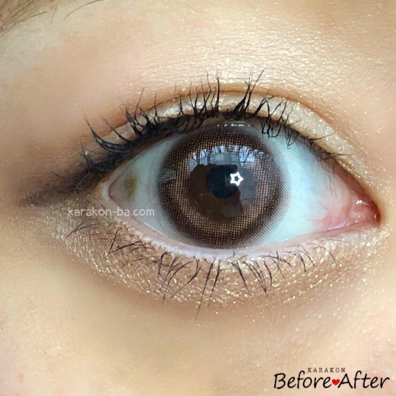 eyemake(アイメイク)シアーブラウンのカラコン装着画像(正面から)