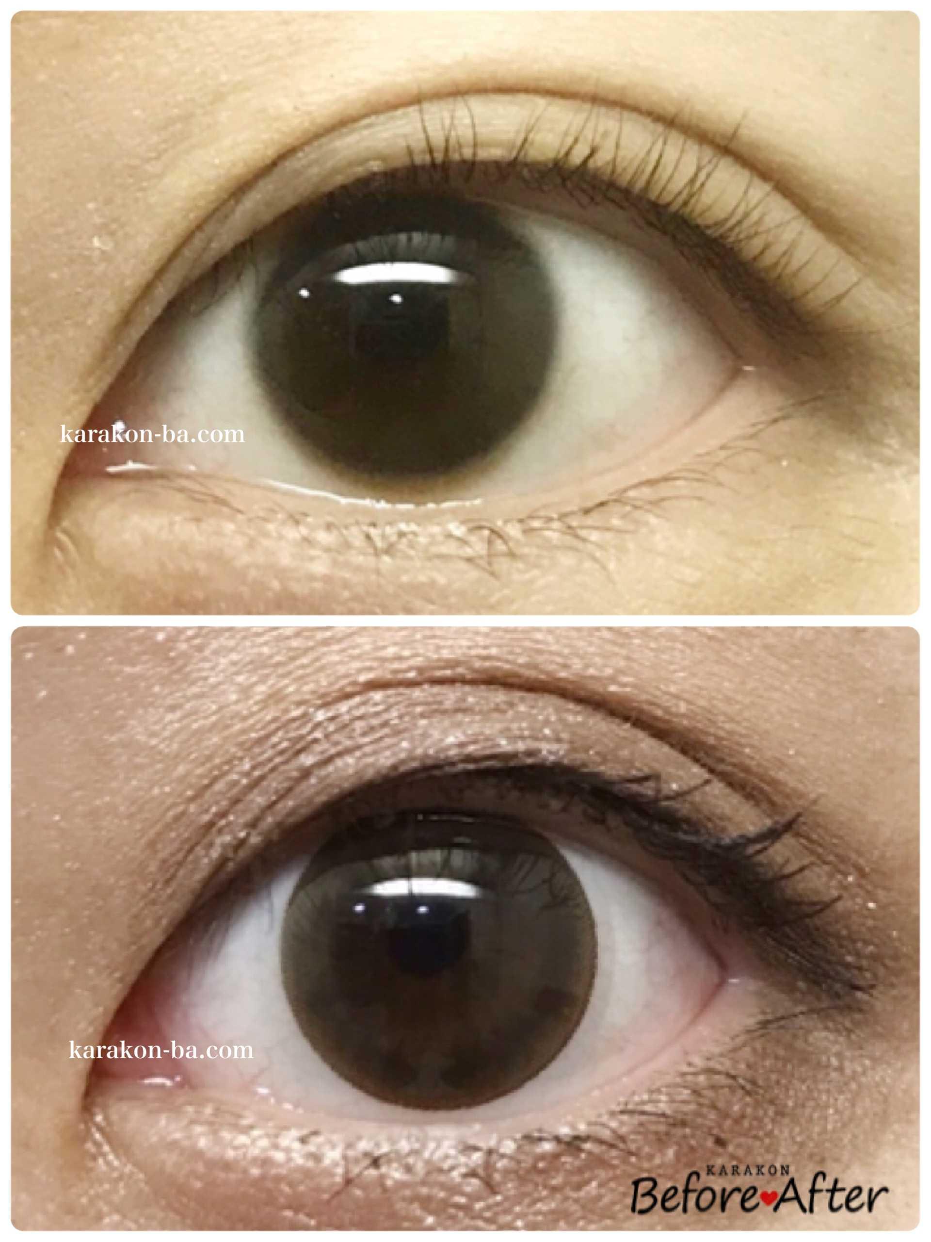 Wave Oneday Ring UV(ウェイブワンデーリング)ナチュラルベールのカラコン装着画像/裸眼と比較レポ