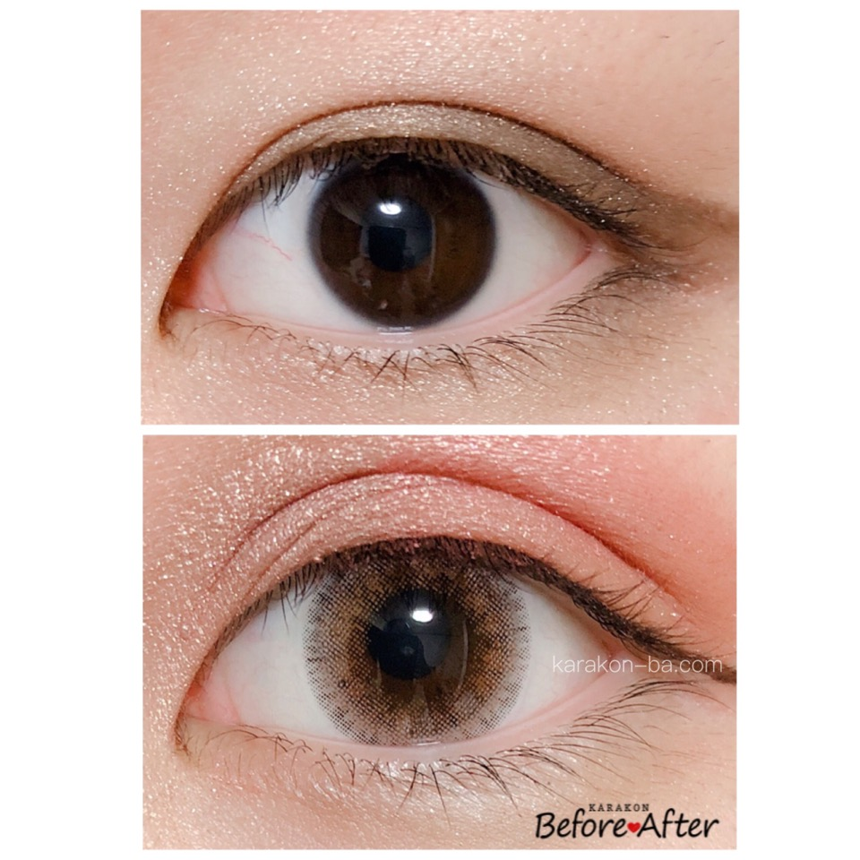 MELANGE(メランジェ)コケティッシュブラウンのカラコン装着画像/裸眼と比較レポ