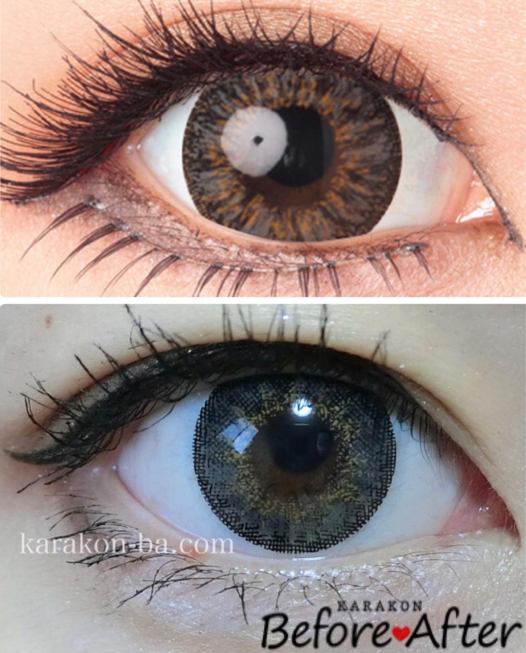 実際に使ってみたVenue Eyes(ヴィーナスアイズ)メガブリリアントグレーと公式のカラコン装着画像を比較