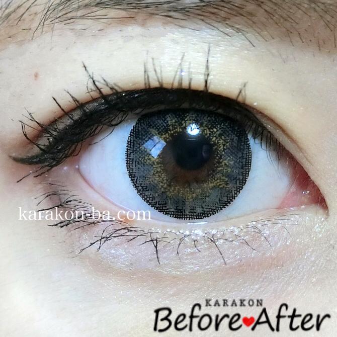 Venue Eyes(ヴィーナスアイズ)メガブリリアントグレーのカラコン装着画像(正面から)