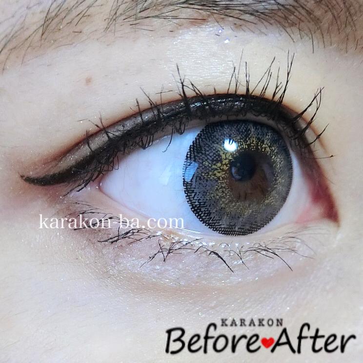 Venue Eyes(ヴィーナスアイズ)メガブリリアントグレーのカラコン装着画像(別の角度から)