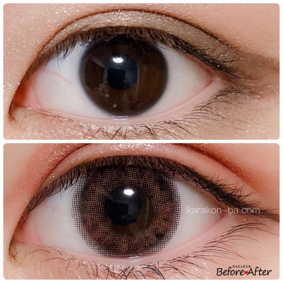 MELANGE(メランジェ)ウォーターカーネリアンのカラコン装着画像/裸眼と比較レポ
