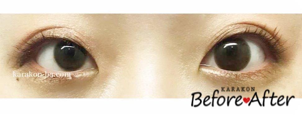 colors(カラーズ)エアリーブラウンのカラコン装着画像/両目で比較レポ