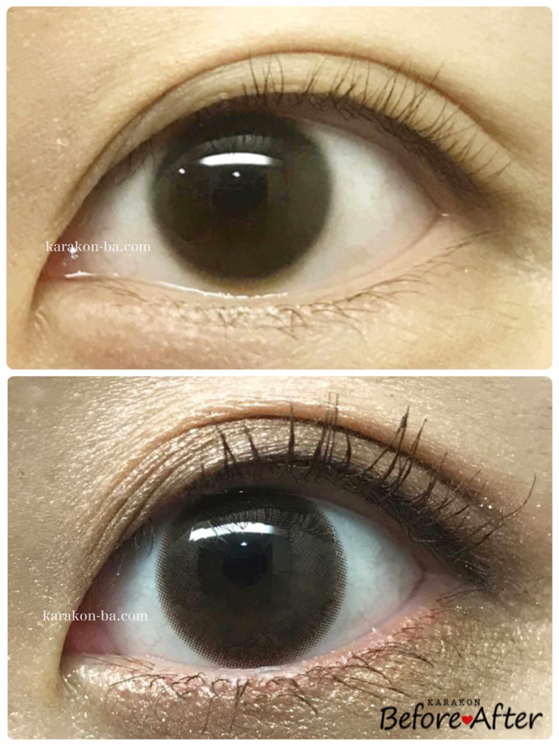 colors(カラーズ)エアリーブラウンのカラコン装着画像/裸眼と比較レポ