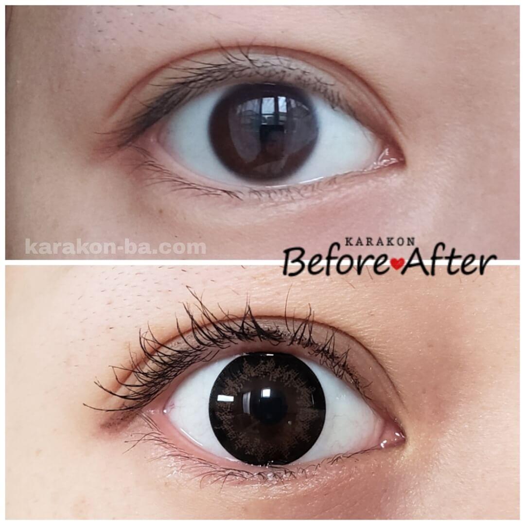 Flower Eyes(フラワーアイズ)ミモザブラウンのカラコン装着画像/裸眼と比較レポ