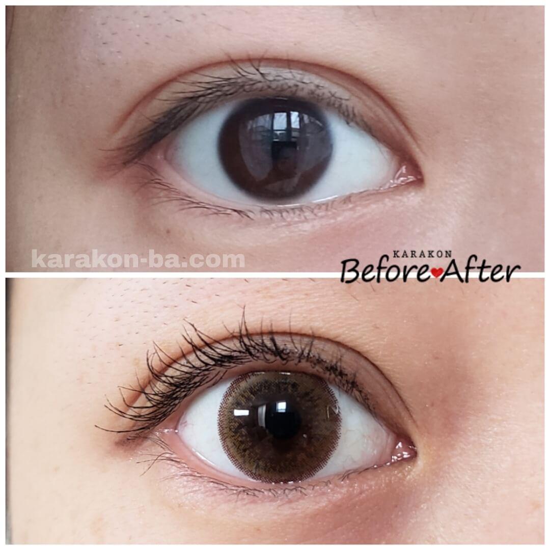 Flower Eyes(フラワーアイズ)ピアニーブラウンのカラコン装着画像/裸眼と比較レポ