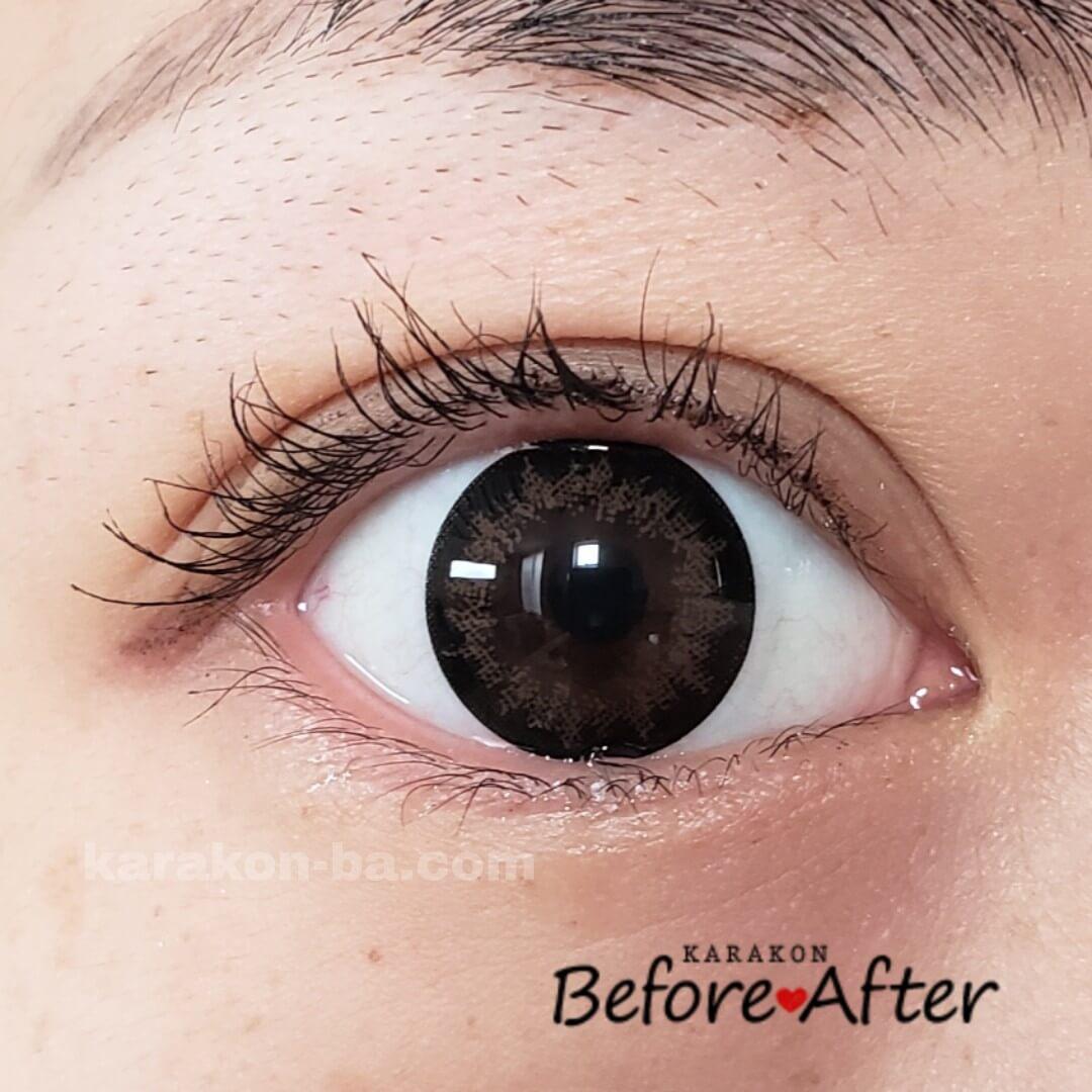 Flower Eyes(フラワーアイズ)ミモザブラウンのカラコン装着画像(正面から)